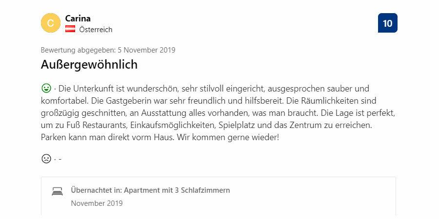 Booking.com - Gästebewertung