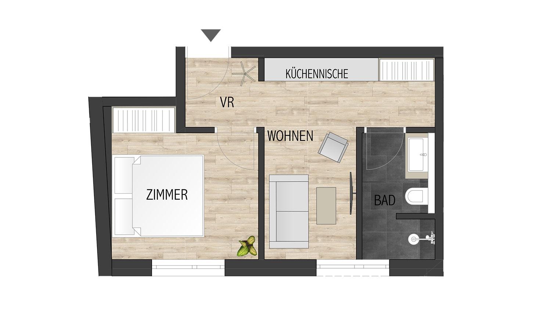 Grundriss - Studio HAPPY, Appartement in Schladming